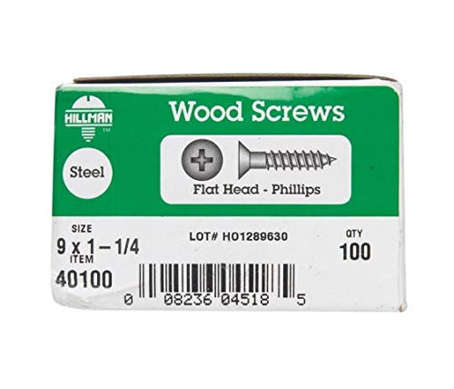 100-Pack The Hillman Group 40140 10-Inch x 2-3//4-Inch Flat Head Phillips Wood Screw