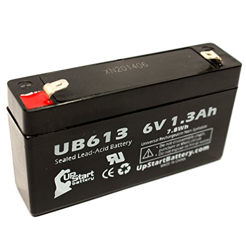 Replacement for General Electric/GE Simon 3 Battery - Replacement UB613 Universal Sealed Lead Acid Battery (6V, 1.3Ah, 1300mAh, F1 Terminal, AGM, SLA) - Includes Two F1 to F2 Terminal Adapters