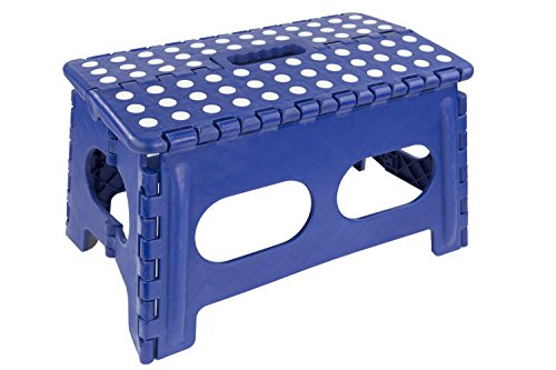 Home Basics Kids Folding Stool with Non-Slip Dots (Wide, Blue) by Home Basics