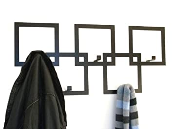 05fc0f63e48 The Metal House Contemporary Wall Mounted Square Coat Rack in Black ...