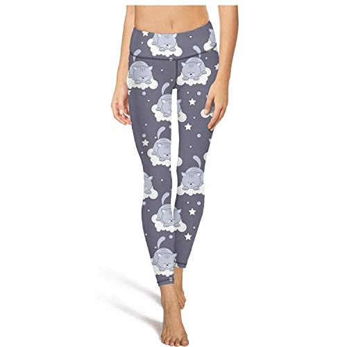 Beautiful Women High Waist Ultra Soft Cats Sleeping on Clouds Sweatpants Pants for Yoga Leggings