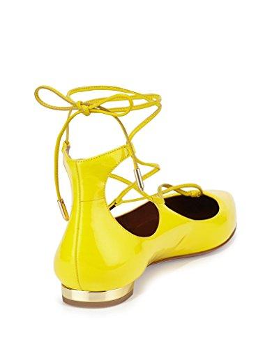 Kolnoo Damen Flach Ballerinas Lace Up Knöchelriemchen Geschlossene Schnürschuh Yellow