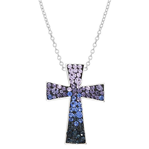 Crystalogy Women's Jewelry Silver Plated Purple Confetti Crystal Cross Fashion Pendant Necklace, 18