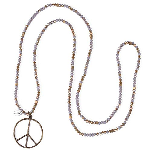 - KELITCH Classic Peace Sign Love Hippie Pendant on Frosted Crystal Beaded Necklace (Grey Green U)