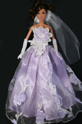 Light Purple Wedding Doll Dress Purple Size Handmade to Fit Barbie Sized Dolls