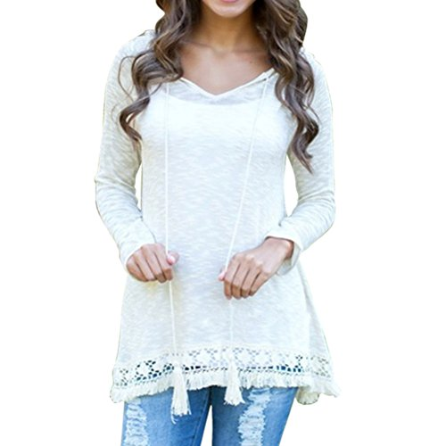 ZXZY Womens Lightweight Soft White Hooded Pullover Tops