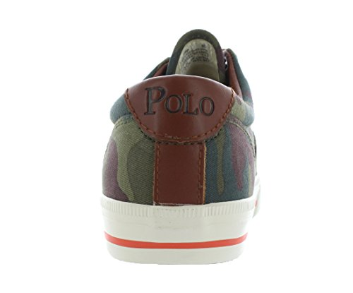 Polo Ralph Lauren Manar Vaughn Nödställda Läder Sneaker Oliv / Orange