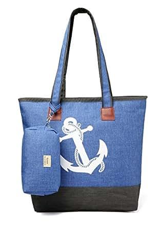 Sumerk Zippered Tote Bag Womens Shoulder Travel Tote Beach Bags
