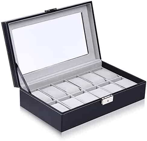 Ohuhu Watch Case, 12 Slot Watch Box PU Leather Watch Display Case, Birthday Fathers Presents, for Men and Women Black - Grey