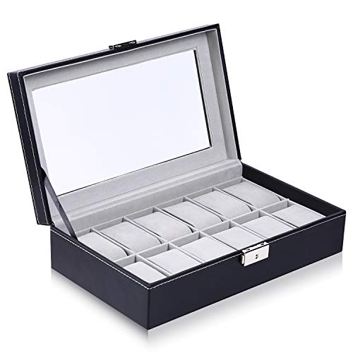Watch Box, Ohuhu 12 Slot Watch Case PU Leather Real Glass Lid Watch Display Case, Watch Organizer Watches Storage Case Fathers Day Gifts Birthday Presents, for Men and Women Black - Grey