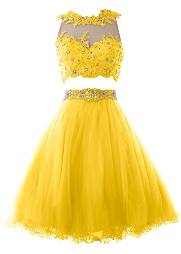MACloth Women Two Piece Lace Tulle Short Prom Dress Homecoming Party Formal Gown Amarillo