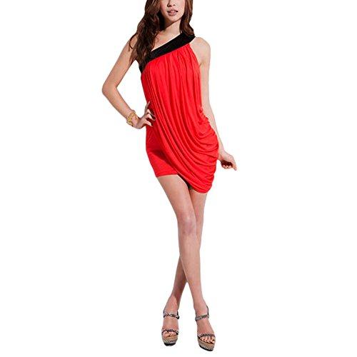 Diana MWS Rosso abito Mod AHEAD drappeggiato asimmetrico MEDIA WAVE vestitino Mini store spalla mono wEfCn6q