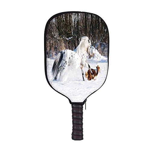YOLIYANA Horses Fashion Racket Cover,Legendary Appaloosa Pony and Sable Border Collie Runs Gallop in Winter Photo Print for Playground,8.3