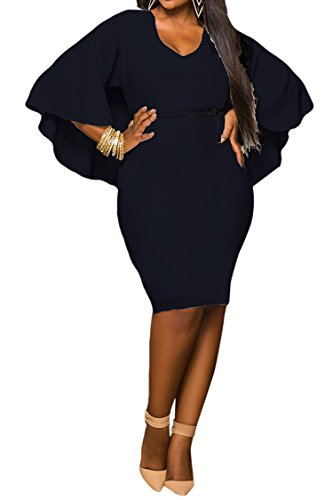 Lasuiveur Womens Batwing Sleeve V Neck Solid Bodycon Plus Size Dress Xxl Black