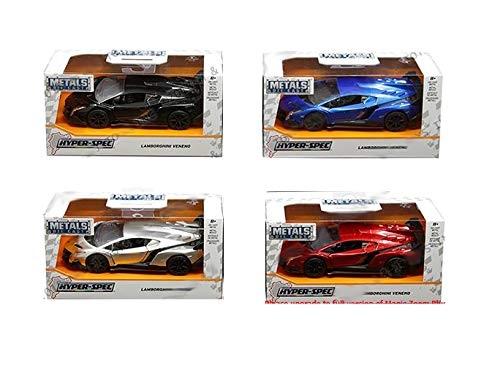 Jada 1: 32 W/B - Metals - Hyper-Spec - Lamborghini Veneno Assortment Toy (Black, Blue, Red, Silver) Set of 4, Multicolor