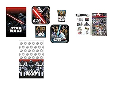 Star Wars Themed Party Supplies Bundle Serve 16: Plates, Cups, Napkins, Loot Bags, Stickers, Tattoos, and Plastic Cloth