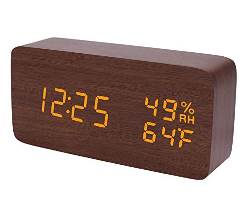 (Raercodia Wooden Alarm Clock Modern Digital LED Desk Clock 2019 Upgraded with Snooze Display Time Temperature Humidity 3 Levels Brightness Voice Control -Brown)