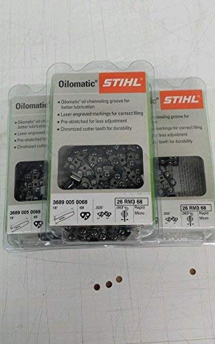 Stihl 26RM3-68 (3 Pack) Oilomatic Rapid Micro Chainsaw Chain 18' 68 Links .325 Pitch 0.63 Guage