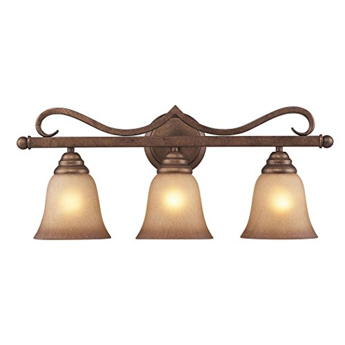 Alumbrada Collection Lawrenceville 3 Light Vanity In Mocha With Antique Amber Glass ()