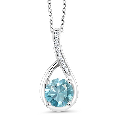 Gem Stone King 1.27 Ct Round Blue Zircon and Diamond 925 Sterling Silver Infinity -