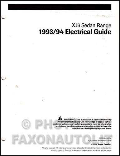 1993-1994 Jaguar XJ6 Electrical Guide Wiring Diagram ... on