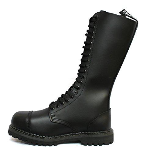 Grinders re nero opaco militare punta di sicurezza in metallo Stivali unisex punk del motociclo