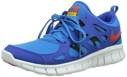 NIKE Free Run 2 (GS) Youth Running Trainers 443742 Sneakers Shoes (UK 4.5 us 5Y EU 37.5, Hyper Cobalt/Team Orange-Photo Blue -Black 404)