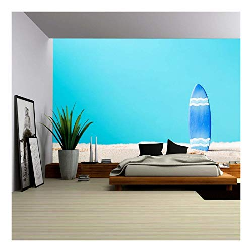 wall26 - Summer Theme with Surfboard on a Bright Blue Background - Removable Wall Mural | Self-Adhesive Large Wallpaper - 100x144 inches