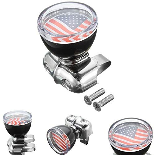 USA Flag Badge Steel Ring Wheel Spinner Suicide Power Knob Handle Universal For Car Truck -Automobiles & Motorcycles Interior Accessories - 1 x Power handle knob