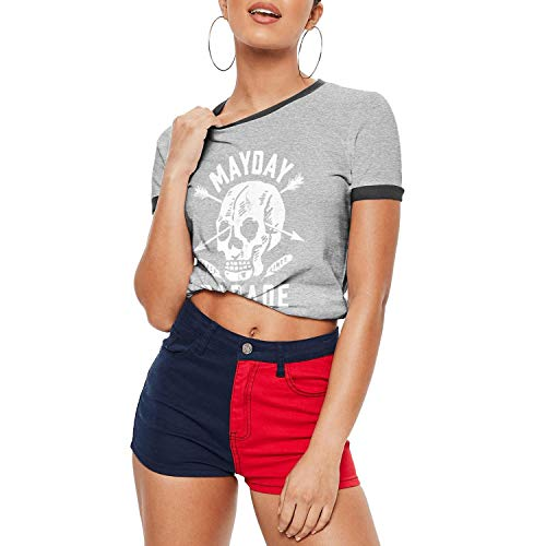 Dmamgk loang Girl's Fitted Loose Short Sleeve Ringer Tee