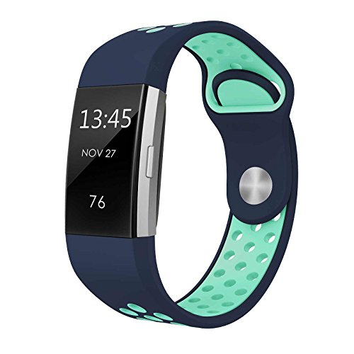 SWEES Silicone Sport Bands Compatible Fitbit Charge 2, Breathable Sport Replacement Bands Air Holes Small & Large (5.7 - 8.3) Women Men, Black, Grey, Navy Blue, Pink, White, Teal