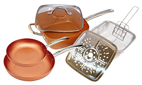 Copper Cooking Pan 6 Pc Set Square Deep Pan With Glass