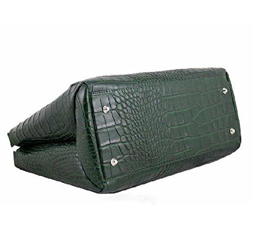 Borsa a mano in pelle stampata coccodrillo colore verde BC125verde