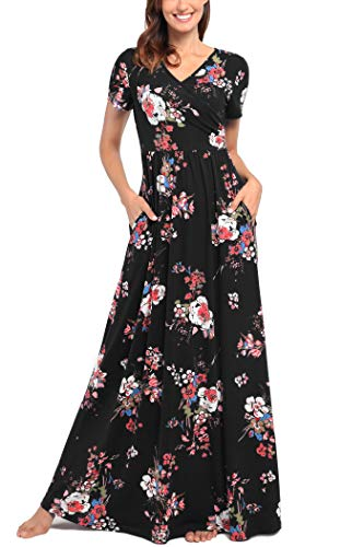 Comila V Neck Maxi Dresses for Women Plus Size, Vintage Elegant Floral  Dress Short Sleeve Petite Maxi Dress Summer Dress for Wedding Guest Women  Maxi ...