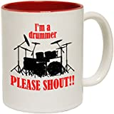 123t Mugs Im A Drummer Please Shout Ceramic Slogan Cup With Red Interior by 123t Mugs