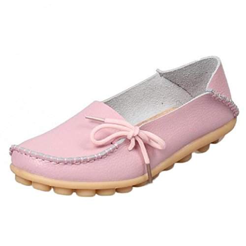AMA(TM) Women Leather Driving Shoes Casual Lace-Up Loafers Boat Shoes Flats Pink RuJRr