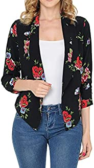Auliné Collection Womens Floral Casual Lightweight 3/4 Sleeve Fitted Open Blazer