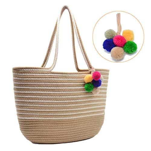 Women Summer Beach Tote Bag with Pom Pom Large Travel Shoulder Bag Handbag Cotton Rope Woven Medium (Style 01) ()