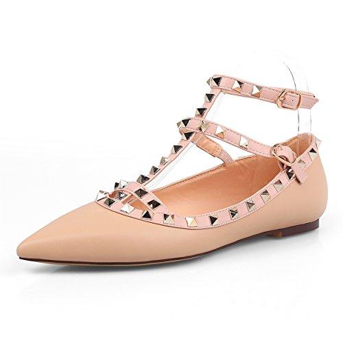 Chris-t Femmes Appartements Rivets Perle Cloutée T-strap Cheville Boucle Chaussures Nu Tapis