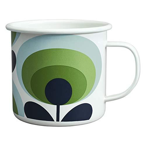 Orla Kiely Enamel Mug Retro Look 70's Apple Flower Oval 16 oz