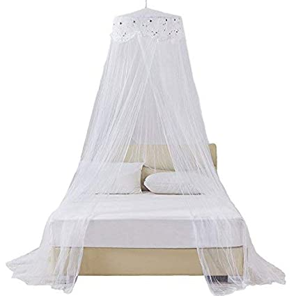 White Netting RuiHome Twin Full Queen Bed Hanging Mosquito Net Dome Lace Canopy with Hooked Screw
