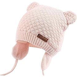XIAOHAWANG Warm Baby Hat Cute Bear Toddler Earflap Beanie for Fall Winter (0-7Months, Pink)