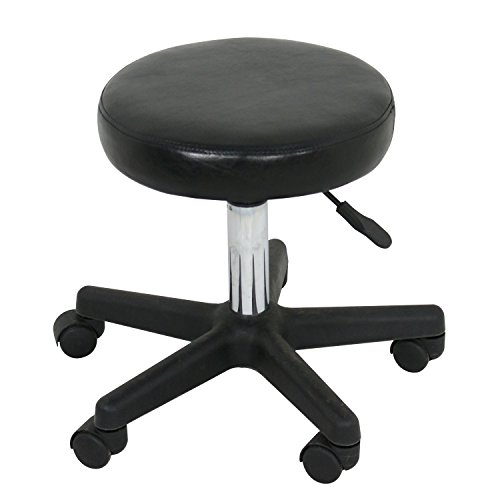 F2C Leather Adjustable Bar Stools Swivel Chairs Facial Massage Spa Salon Stool with Wheels White/Black (Black) by F2C (Image #1)