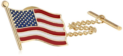 Status Men's Tie Tac American Flag, Gold, One Size (14k Gold Enamel American Flag)