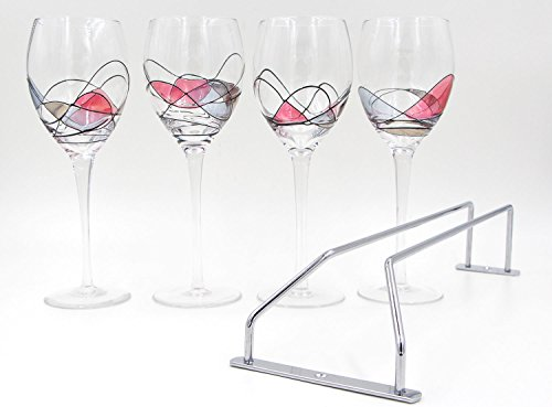 IBeaty Hand Painted Party Medium Wine Glasses Set Black silk winding Stained Glass Pattern Design Barware - Unique Gifts for Women Men Wedding Anniversary Engagement - Set of 4 with Wine Glass Rack (Black Stemmed Wine Glasses compare prices)