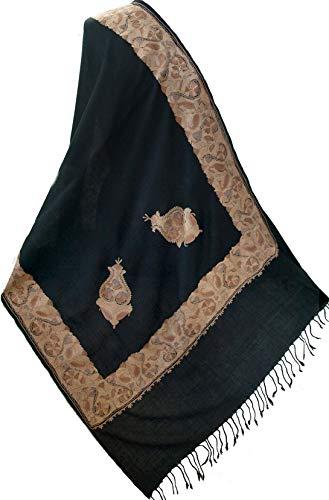 Black Crewel Embroidered...