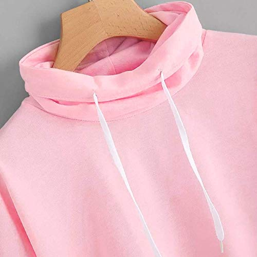 Capuche Tops Manches Sweat À Décontracté Street Automne Rose Couleur Longues Femmes Loose Girl Pull Plaine Beautiful M Clothes Top Zhrui Col Taille 86PqP