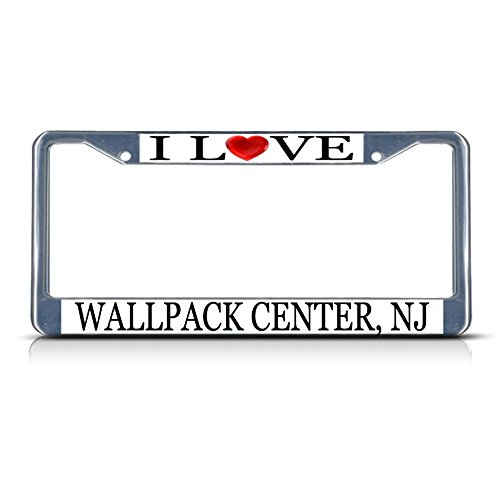 Sign Destination Metal License Plate Frame Solid Insert I Love Heart Wallpack Center, Nj Car Auto Tag Holder - Chrome 2 Holes, Set of 2 ()