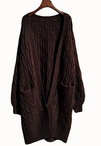 GuDeKe 春コート レディース ニットカーディガン ロング ニットセーター ケーブル トップス 袖リブ 長袖 ゆったり カジュアル 着痩せ 柔らかい