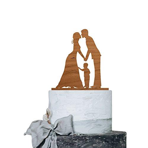 P Lab Kissing Couple with Boy Romantic Time Wedding Cake Topper Rustic Wood Decoration Keepsake Engagement Favors for Special Event Cherry Wood by Personalization Lab